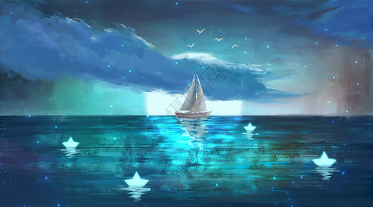 月光下的小帆船图片
