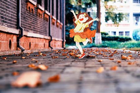 秋天与女孩图片
