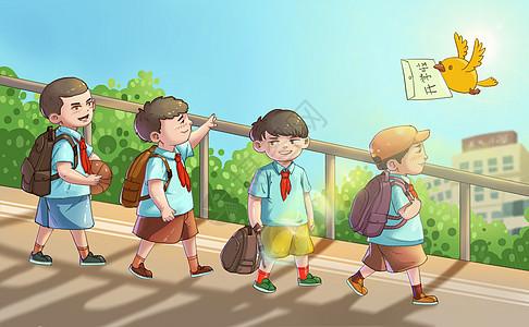 上学的孩子们图片