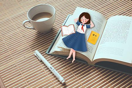 创意开学季女孩读书图片