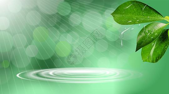清新绿色化妆品背景图片