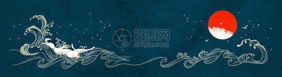 中国风云纹海浪背景图片