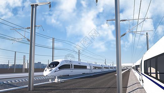 疾驰的高铁场景图片