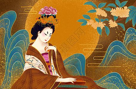 烫金中秋古典美女月饼图图片