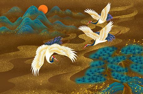 仙山仙鹤图片