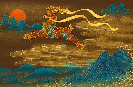 仙山仙鹿图片