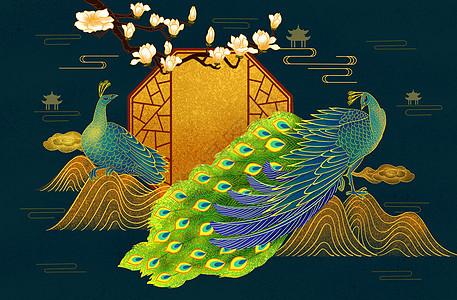 烫金中式孔雀图片