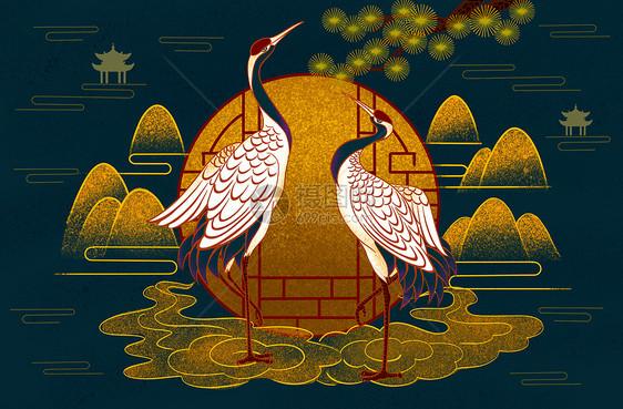 烫金中式仙鹤图片