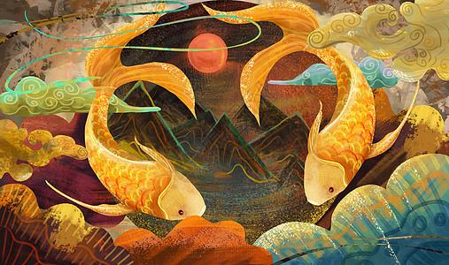 重彩锦鲤彩绘中国风图片