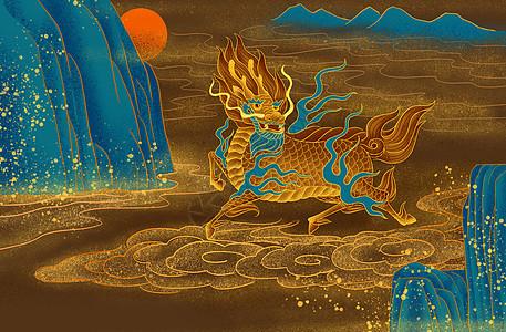 烫金麒麟兽图片