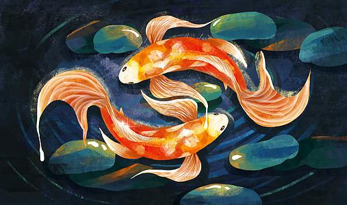 锦鲤重彩暗色系中国风图片