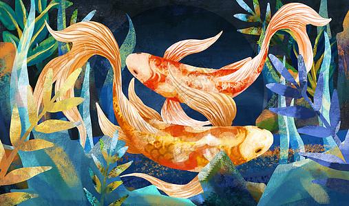 重彩锦鲤戏水中国风图片
