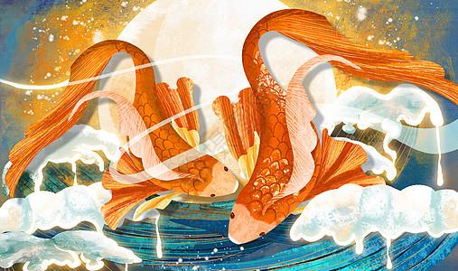 金鱼重彩中国风背景图片