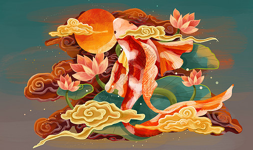 鲤鱼跃龙门仙气国潮风图片