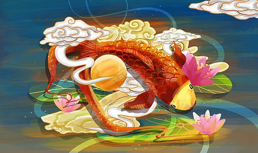 金鱼重彩仙云国潮风图片
