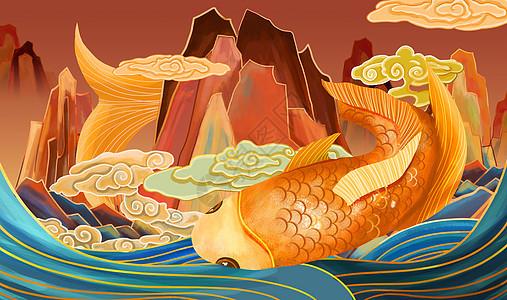 重彩鲤鱼彩绘戏水中国风图片