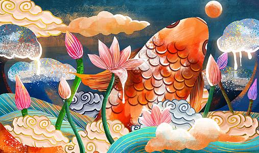重彩鲤鱼与荷花中国风图片