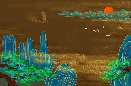 烫金青绿山水图图片