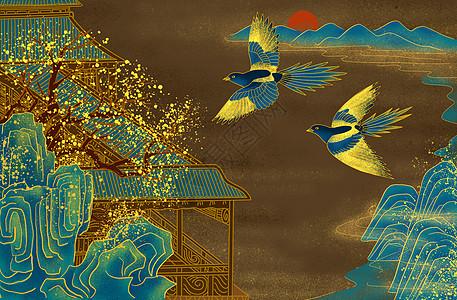 烫金中式庭院喜鹊图片