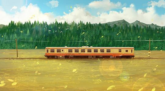 行驶在秋天里的列车图片