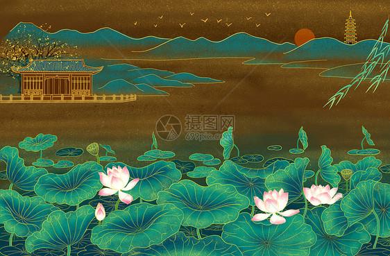 中式庭院荷塘图片