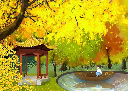秋天公园里的小女孩图片