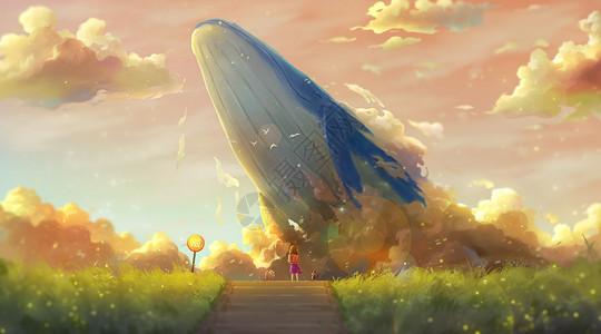 黄昏下小女孩与鲸鱼的邂逅图片