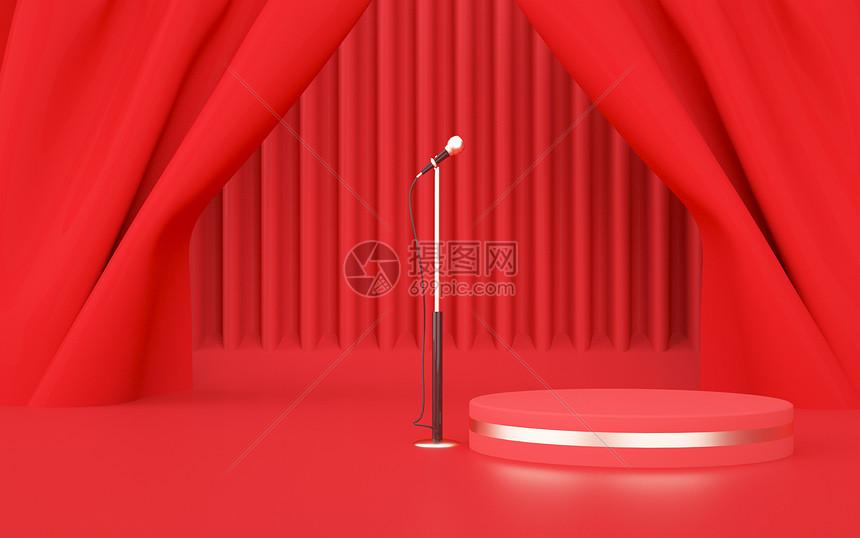 红色舞台背景图片