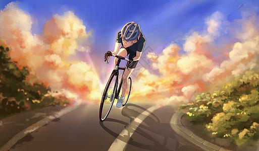 世界骑行日插画图片