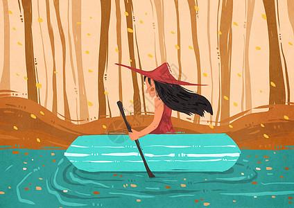 秋天划船小女孩插画图片