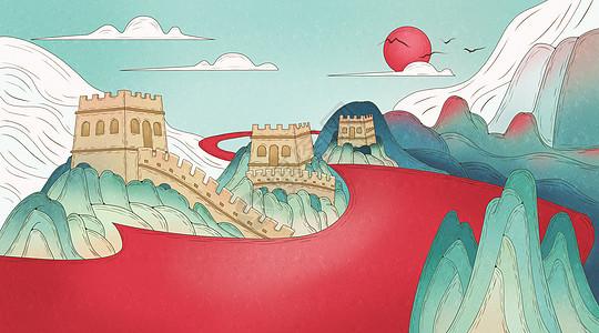 国庆节长城红色抽象图片