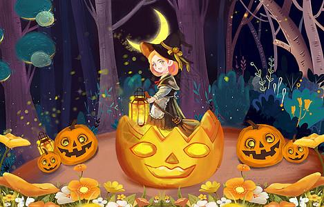 万圣节女巫与南瓜灯图片