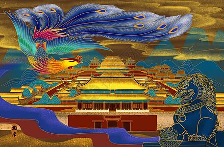 烫金北京城图图片