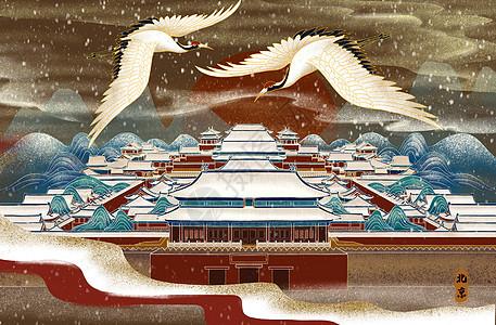 烫金北京城雪景图片