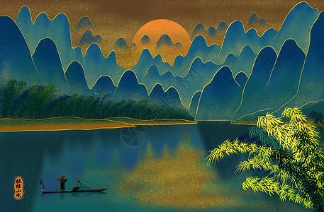 烫金城市美丽中国桂林山水图片