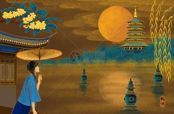 烫金城市美丽中国杭州图片