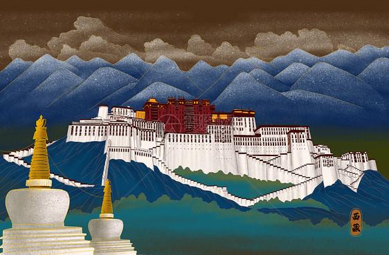 烫金城市美丽中国西藏图片