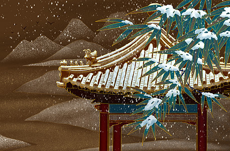 烫金亭子雪景图片