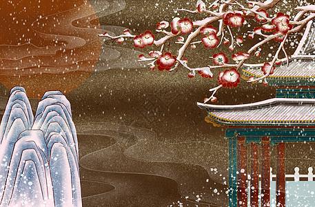 烫金中式亭子雪景图片