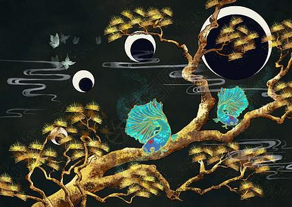 烫金中国风松针树图片