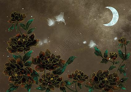 烫金中国风蝴蝶与牡丹图片
