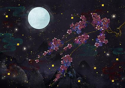 烫金中国风花枝与萤火虫图片