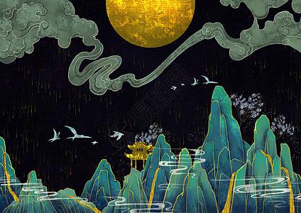 烫金中国风群山峻岭图片