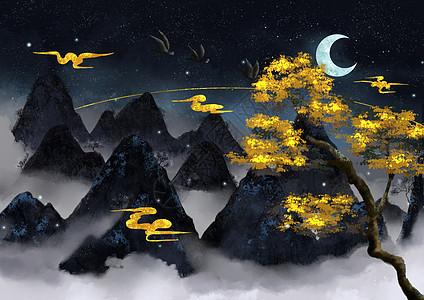 烫金中国风山水图片