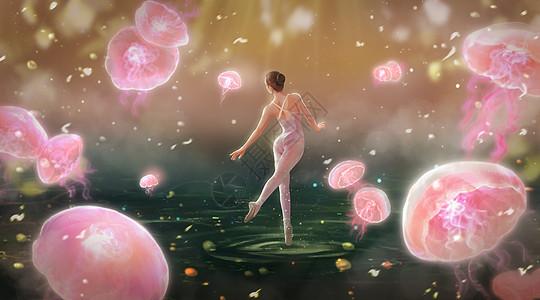 与水母一起跳舞的芭蕾舞者图片