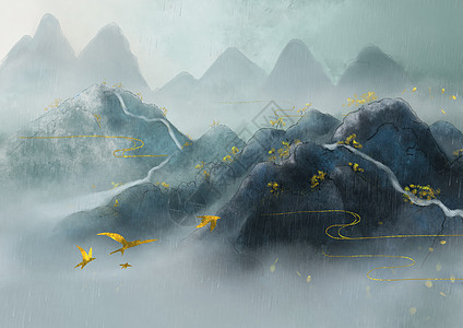 烫金中国风山水风景图片