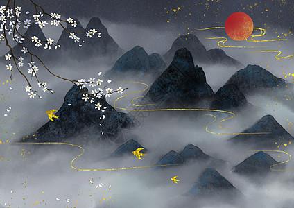 烫金中国风水墨山水图片