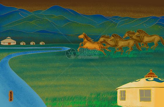 烫金城市美丽中国蒙古图片