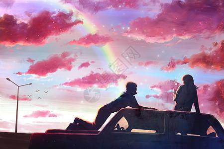 黄昏下旅行的情侣图片