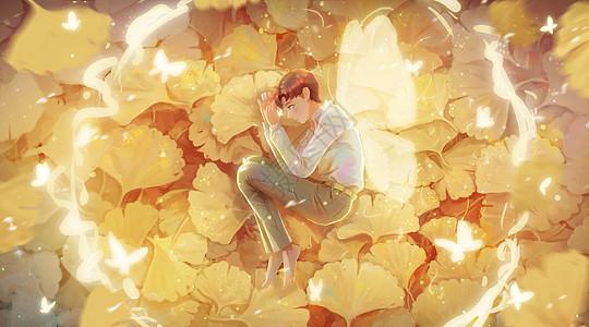 落叶上的孤独少年图片